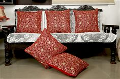 Silver Gold Embroidered Red Cushion Cover (Pack of 5) By Dekor World