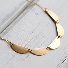 Geometric Scallop Necklace... Vintage Brass by SilkPurseSowsEar