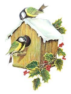 Victorian Die Cut - Tube Victorienne - Glansbilleder - Plaatjes: Christmas Bird