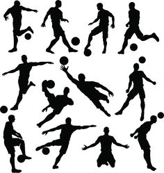 A set of Soccer Player Silhouettes in lots of different poses Silhouette Painting, Silhouette Vector, Soccer Art, Basketball Players, Soccer Silhouette, Soccer Motivation, Soccer Highlights, Birthday Cards For Boys, 9th Birthday