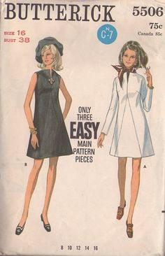 MOMSPatterns Vintage Sewing Patterns - Butterick 5506 Vintage 60's Sewing Pattern STELLAR Mod Space Age 3 Easy Pieces Stand Up Slit Neckline, Seam Interest Party Dress