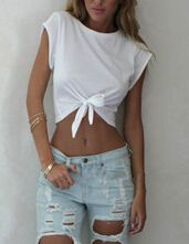 White Round Neck Knotted Crop T-Shirt