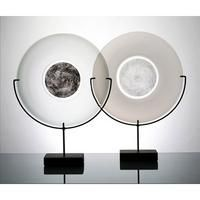 Black & White Color Wheels, glass & steel, Merletto glass centre circles, Michael Schunke, Nine Iron Studios