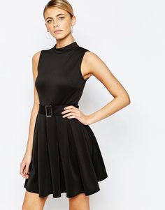 Love | Love High Neck Mini Dress with Belt at ASOS