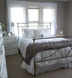 I think that a see through frame would be great for the guest bedroom since I want the bed in front of the window.  I also have this comforter and the throw looks awesome at the foot of the bed.
