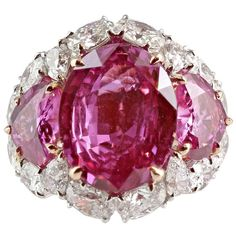 Two Tone Pink Sapphire and Diamond Ring | From a unique collection of vintage three-stone rings at http://www.1stdibs.com/jewelry/rings/three-stone-rings/