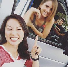 Arden Cho and Shelley Hennig on the set of #TeenWolfSeason5B!!!