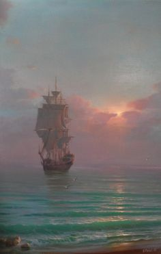 Evening At Raid 1 - oil, canvas Ship Paintings, Seascape Paintings, Moby Dick, Old Sailing Ships, Ship Drawing, Boat Painting, Nautical Art, Ship Art, Tall Ships