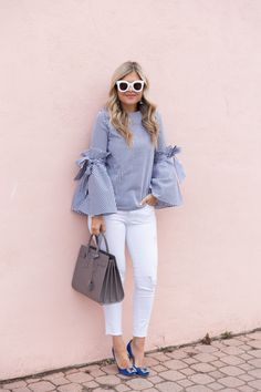 Bows n' Bell Sleeves ~ Suburban Faux-Pas Latest African Fashion Dresses, Latest Fashion Trends, Casual Outfits, Cute Outfits, Fashion Outfits, Blouse Styles, Blouse Designs, Stylish Dresses For Girls, Ready To Wear