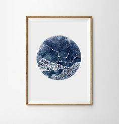Constellation Print Night Landscape Geometric mountains Art Boho Moon Galaxy Sky Space Stars Print Watercolor Astronomy Decor Nebula Dreamy