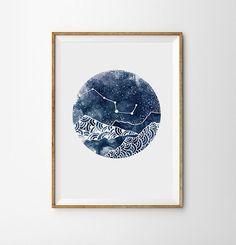 Constellation Print Night Landscape Geometric mountains Art Boho Moon Galaxy Sky Space Stars Print Watercolor Astronomy Decor Nebula Dreamy