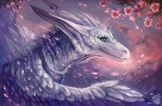 Flying petals by FlashW on DeviantArt Dragon Face, Ice Dragon, Magical Creatures, Fantasy Creatures, Feathered Dragon, Greek Goddess Art, Dragon Puppet, Fanart, Furry Comic