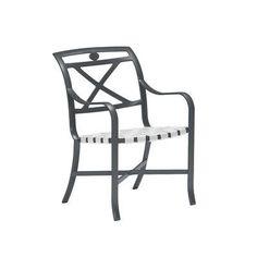 Tropitone Palladian Dining Arm Chair Vinyl: Parchment, Finish: Woodland