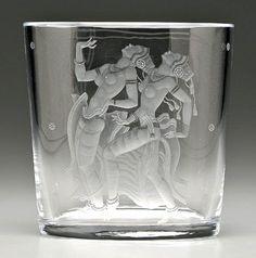 """Simon Gate (Swedish, 1883-1945), Orrefors, """"Java Dancers"""" Engraved Glass Vase."""