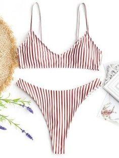Striped High Cut Thong Bikini Set - Red And White M #beautiful#swimwear#woman#beauty