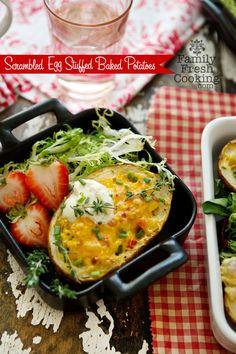 Scrambled Egg Stuffed Baked Potato recipe on FamilyFreshCooking.com © MarlaMeridith.com