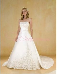 Strapless A Line Princess Cathedral Satin Wedding Dresses