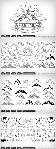 Mountains hand-drawn editable vector by Nedti on Creative Market Doodle Drawings, Doodle Art, Doodle Ideas, Doodle Frames, Zentangle, Bullet Journal Inspiration, Journal Ideas, Bullet Journal For Men, Journal Design