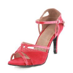 Women's Latin Heels Sandals Suede Ankle Strap Dance Shoes