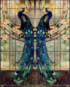 Art Nouveau Peacock leadlight