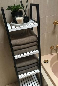 hack bathroom caddy shelves painted black and white to make it more modern., Kmart hack bathroom caddy shelves painted black and white to make it more modern.,Kmart hack bathroom caddy shelves painted black and white to make it more modern. Kmart Bathroom, Bathroom Caddy, Bathroom Hacks, Small Bathroom Storage, Simple Bathroom, Master Bathroom, White Bathroom, Bathroom Renovations, Modern Bathroom