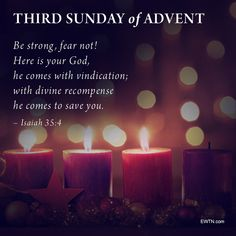 Third Sunday of Advent  Lord, let your blessing come upon us as we light two purple advent candles and the third (pink) of this wreath. May the wreath and its light be a sign of Christ's promise of salvation. May He come quickly and not delay. We ask this in His holy name. Amen. Third Sunday Of Advent, Advent Candles, Blessing, Save Yourself, Purple, Pink, Amen, Christ, Lord