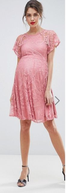 $40   Super cute lace maternity dress   ASOS MATERNITY Flutter Sleeve Lace Skater Dress   baby shower dress   maternity dress   spring maternity   summer maternity   maternity fashion   maternity wardrobe   maternity style   maternity outfit   pregnancy   bump   #ad