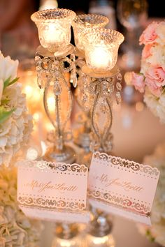 Blush Laser Cut Place Cards // Real Wedding: Katie and Joseph | Southern Fried Paper Blog