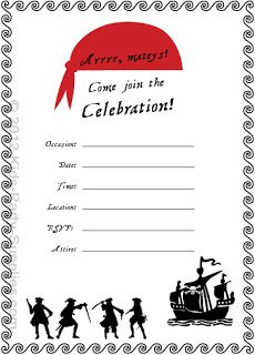 printable certificate for a junior pirate-- this site has several, Birthday invitations