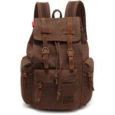 EcoCity Vintage Canvas Backpack Rucksack Schoolbag... found on Polyvore
