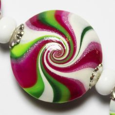 Handmade Polymer Clay Beads Set Lentil Lentils Swirl Spiral Pink Magenta Green Silver Bead Caps Jewelry Supplies...Hibiscus. $20.00, via Etsy.
