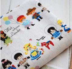 Cotton Linen Fabric Cloth -DIY Cloth Art Manual Cloth -Cute Boy And Girl  55x19 Inches. $8.60, via Etsy.
