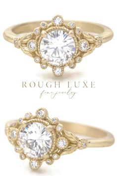 A romantic 1ct. diamond engagement ring with nature inspired floral details. | roughluxejewelry.com  #floralengagementring #halodiamondring #bestengagementring #uniquering Vintage Inspired Engagement Rings, Round Diamond Engagement Rings, Engagement Wedding Ring Sets, Nature Inspired, Unique Rings, Paris Wedding, Wedding Proposals, Romantic, Wedding Inspiration