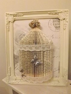 shabby chic bird cage Origami book folding by littlemisssparklegy Plus Diy Old Books, Old Book Crafts, Book Page Crafts, Recycled Books, Craft Books, Recycled Crafts, Arte Shabby Chic, Shabby Chic Crafts, Shabby Chic Decor