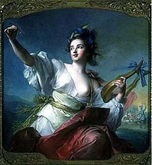 "In Greek mythology, Terpsichore  ""delight in dancing"" was one of the nine Muses, ruling over dance and the dramatic chorus. She lends her name to the word ""terpsichorean"" which means ""of or relating to dance"". She is usually depicted sitting down, holding a lyre, accompanying the dancers' choirs with her music. She is sometimes said to be the mother of the Sirens by Achelous. Her name comes from the Greek words τέρπω (""delight"") and χoρός (""dance"")."