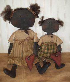 Primitive Grungy Two Black Sisters & Valentine Hearts Doll Set #NaivePrimitive