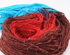 Silk Bubbles Reclaimed Silk Yarn: Teal- Brick Red- Sepia from #DGY