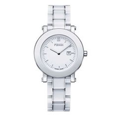 FENDI  Fendi Large Round Ceramic Bracelet Watch  FENDI White Round Ceramic. Signature zucchino detail on dial.     • Band length: 173mm.  • Band width: 18mm.  • Water-resistant to 5 ATM (50 meters).  • Date function.    FENDI Made in Switzerland.   Color - White  Full Fendi warranty for 2 years.   $995  http://www.yslux.com/zoom_img/_1299341351.jpg