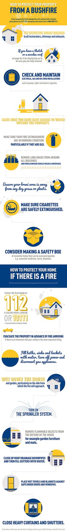 Santam – How to protect your property from a bushfire infographic Fire Prevention, Fire Safety, How To Protect Yourself, Infographics, How To Make, Scouting, Geography, Content, History