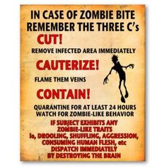 Things to remember if you get a zombie bite.