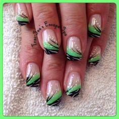 Bright Green With Black von TraiSeasEscape - Nail Art Gallery nailartgallery. Nail Art Designs, Green Nail Designs, French Nail Designs, Cute Nails, Pretty Nails, Seahawks Nails, Irish Nails, Summer French Nails, Nail Design Spring