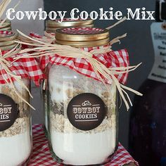 Cowboy Cookie Mix - Mom and I made this for Christmas gifts and called them Snow Drift Cookies. :) The jars were bought a Walmart and had snowflakes on the outside.