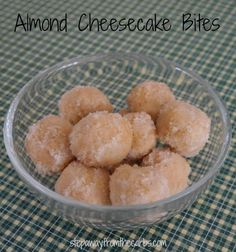 Almond Cheesecake Bites - low carb snack bites easy bites keto bites mini bites no bake bites no bake easy bites recipes Protein Cookies, Protein Snacks, Keto Snacks, Cheese Snacks, Cheese Bites, Diabetic Snacks, Low Carb Deserts, Low Carb Sweets, Healthy Sweets