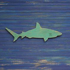 Wood Shark Sign Small Wall Art Mako Shark Sign Beach Coastal Nautical Wooden Sign Indoor or Outdoor