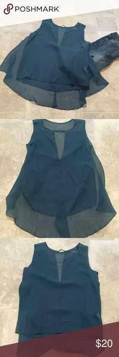 NWOT Asymmetrical Sleeveless Blouse Teal Blue flirty sleeveless blouse. Material is sheer. High in the front, low in the back. Back has flowing sheer material and a small V cut at the upper back. Tops Blouses