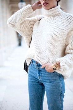 A lose white sweater