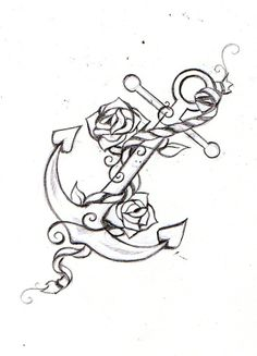 LOVE this anchor and roses design for a tattoo ...
