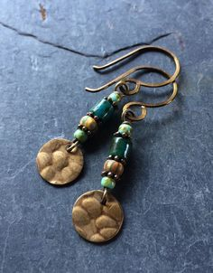 Hammered Metal and Czech Glass Dangle Earrings  by esdesigns65