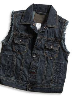 GUESS Kids Boys Big Boy Crater Vest, DARK STONE WASH (16/18)