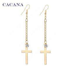 CACANA 긴 귀걸이 골드 도금 크로스 매달려 귀걸이 최고 품질 CZ 다이아몬드 보석류 뜨거운 판매. A199